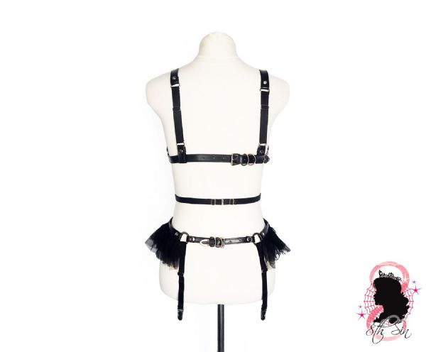 Black Faux Leather Cage and Corset Harness Set